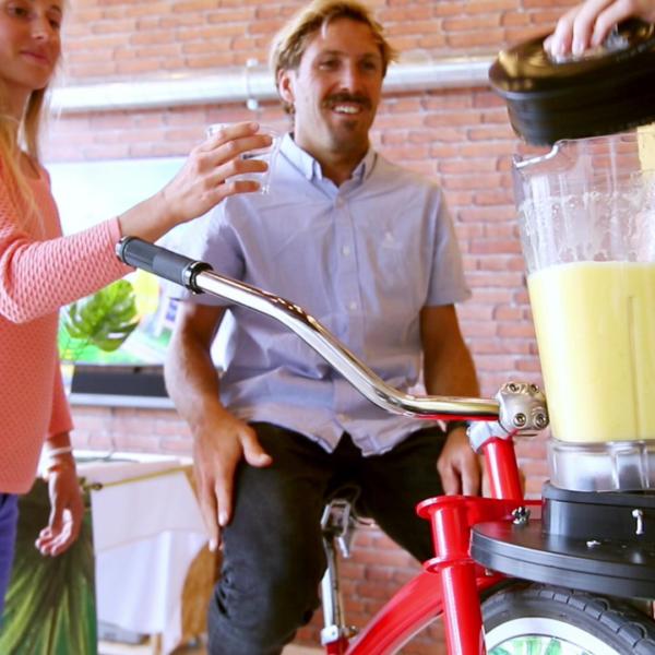 Client vélo à smoothie